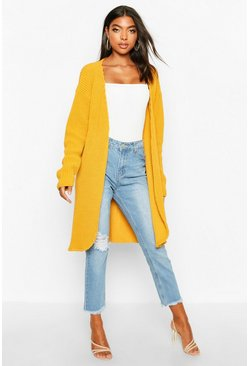 Mustard yellow Tall  Fisherman Rib Cardigan