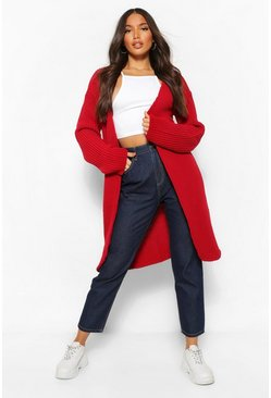 Red Tall  Fisherman Rib Cardigan