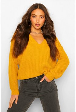 Yellow Tall Oversized V Front Jumper