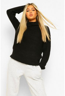 Black Tall Roll Neck Jumper