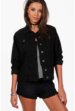 Black Tall Denim Boyfriend Jacket