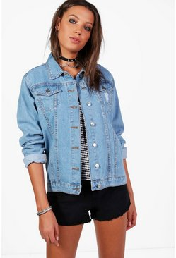 Blue Tall Denim Boyfriend Jacket