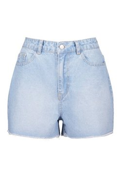 Blue Tall High Waist Frayed Denim Shorts