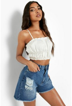 Mid blue blue Tall Distressed Frayed Denim Shorts
