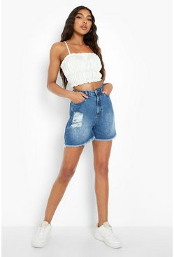 Mid blue Tall Distressed Frayed Denim Shorts