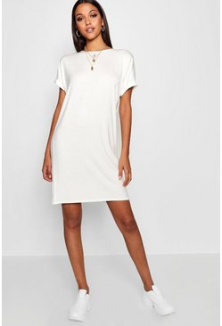 Ivory white Tall Oversized T-Shirt Dress
