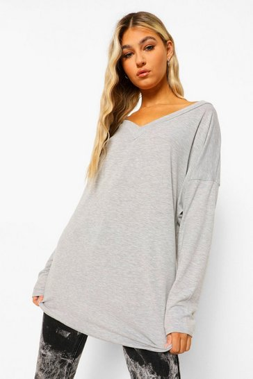 Grey Tall Oversized Long Sleeve Top
