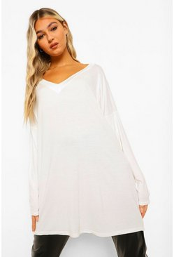 Top extragrande con manga larga Tall, Marfil blanco