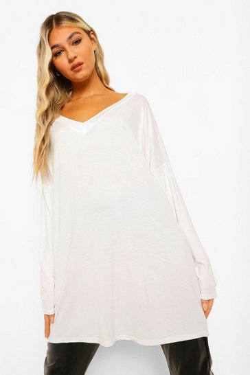 Ivory white Yellow Tall Oversized Long Sleeve Top