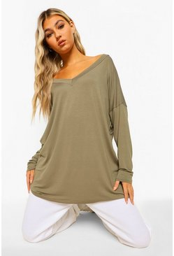 Khaki Tall Oversized Long Sleeve Top