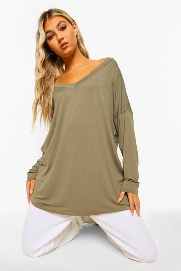Khaki Navy Tall Oversized Long Sleeve Top