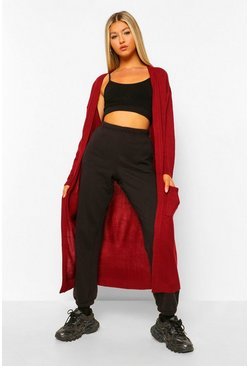 Wine red Tall Chunky Knit Longline Cardigan