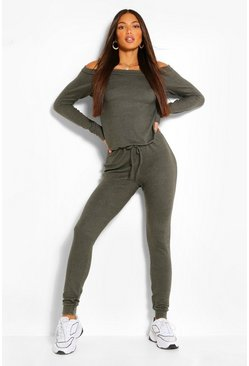 Khaki Tall  Slash Neck Lounge Jumpsuit