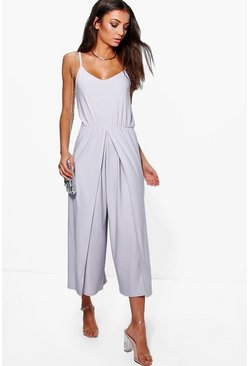 Silver Tall  Wrap Split Leg Strappy Culotte Jumpsuit