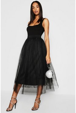 Black Tall Boutique Tulle Mesh Midi Skirt