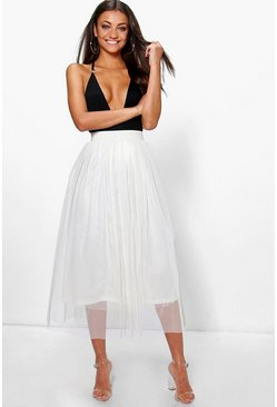 Cream white Tall Boutique Tulle Mesh Midi Skirt