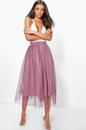 Mauve purple Tall Boutique Tulle Mesh Midi Skirt