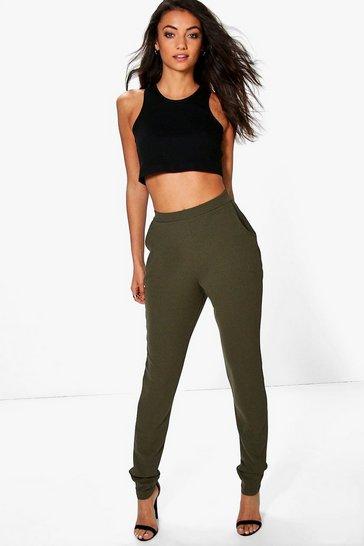 Khaki Tall Skinny Crepe 2 Pocket Trousers