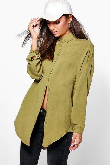 Olive green Green Tall Linen Look Oversized Shirt