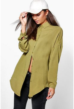 Olive green Tall Linen Look Oversized Shirt