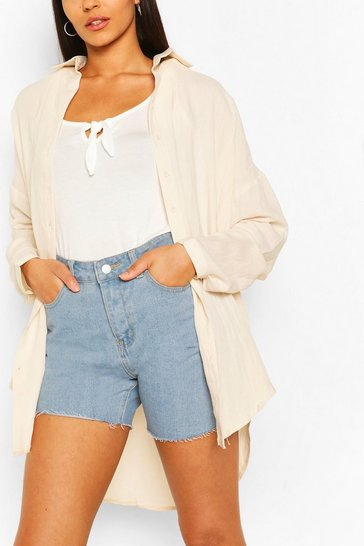 Sand Tall Linen Look Oversized Shirt