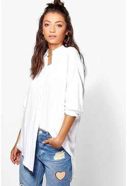 White Tall Linen Look Oversized Shirt