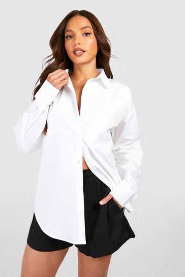 White Tall Linen Look Oversized Shirt