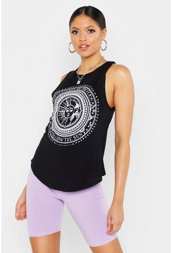 Black Tall Sun And Moon Printed Vest