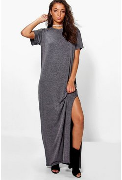 Charcoal grey Tall Split Side T-Shirt Maxi Dress