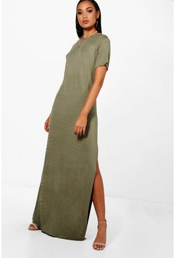 Khaki Tall Split Side T-Shirt Maxi Dress