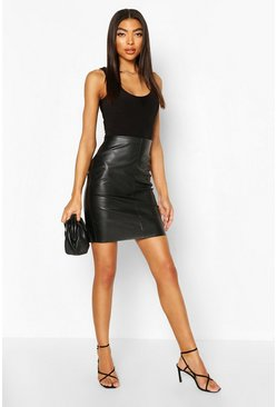 Black Tall Leather Look Mini Skirt